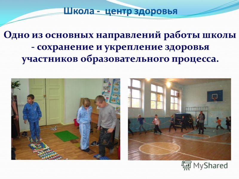 Школа - центр здоровья Одно из основных направлений работы школы - сохранение и укрепление здоровья участников образовательного процесса.