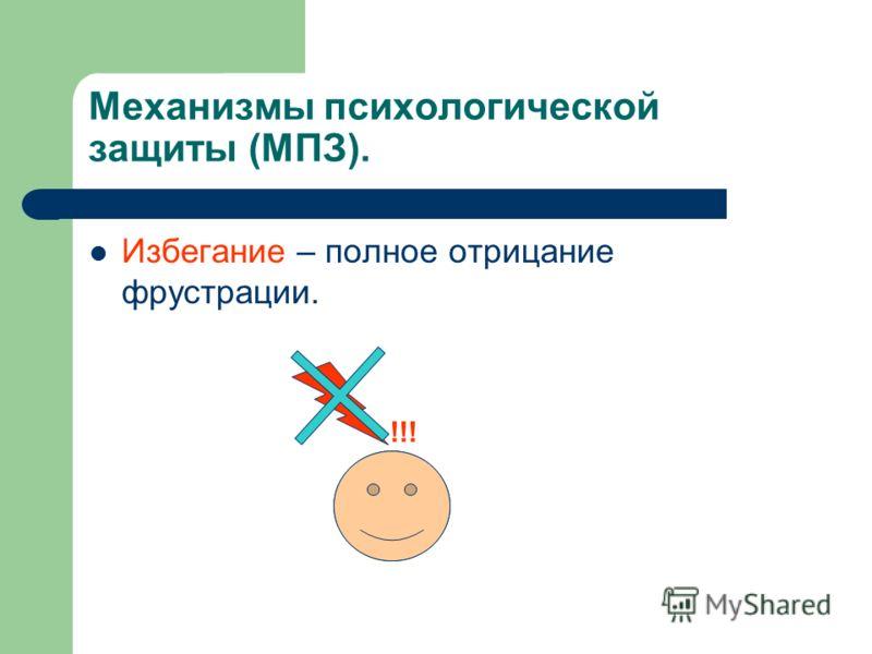Избегание – полное отрицание фрустрации. !!!