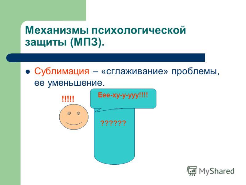 Механизмы психологической защиты (МПЗ). Сублимация – «сглаживание» проблемы, ее уменьшение. ?????? !!!!! Еее-ху-у-ууу!!!!
