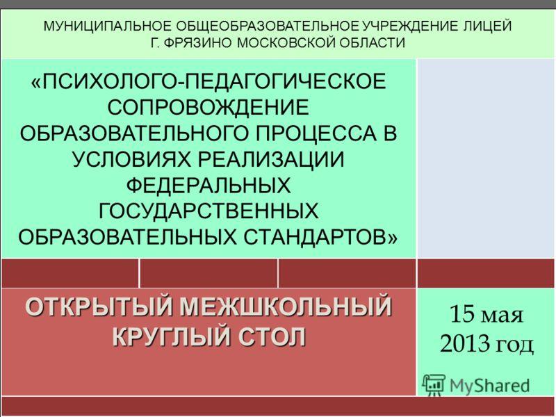МУНИЦИПАЛЬНОЕ ОБЩЕОБРАЗОВАТЕЛЬНОЕ УЧРЕЖДЕНИЕ ЛИЦЕЙ Г. ФРЯЗИНО МОСКОВСКОЙ ОБЛАСТИ «ПСИХОЛОГО-ПЕДАГОГИЧЕСКОЕ СОПРОВОЖДЕНИЕ ОБРАЗОВАТЕЛЬНОГО ПРОЦЕССА В УСЛОВИЯХ РЕАЛИЗАЦИИ ФЕДЕРАЛЬНЫХ ГОСУДАРСТВЕННЫХ ОБРАЗОВАТЕЛЬНЫХ СТАНДАРТОВ» ОТКРЫТЫЙ МЕЖШКОЛЬНЫЙ КРУГ