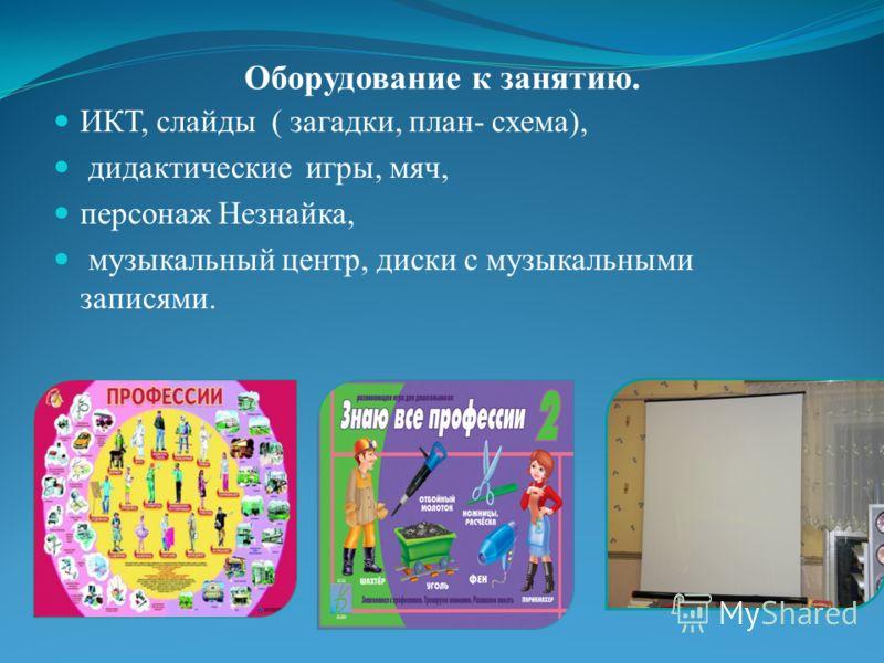 Оборудование к занятию. ИКТ, слайды ( загадки, план- схема), дидактические игры, мяч, персонаж Незнайка, музыкальный центр, диски с музыкальными записями.
