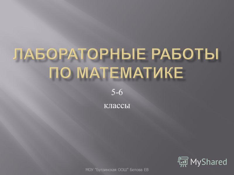5-6 классы МОУ  Булзинская ООШ  Белова ЕВ