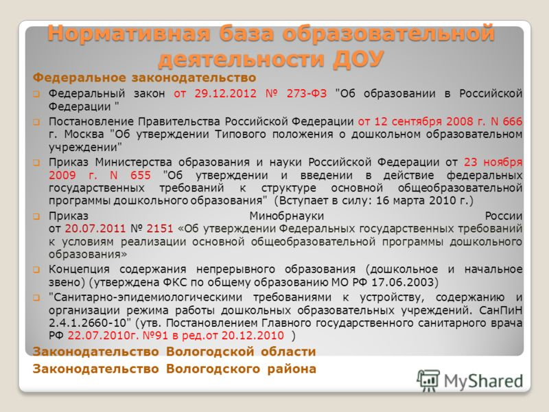Нормативная база образовательной деятельности ДОУ Федеральное законодательство Федеральный закон от 29.12.2012 273-ФЗ