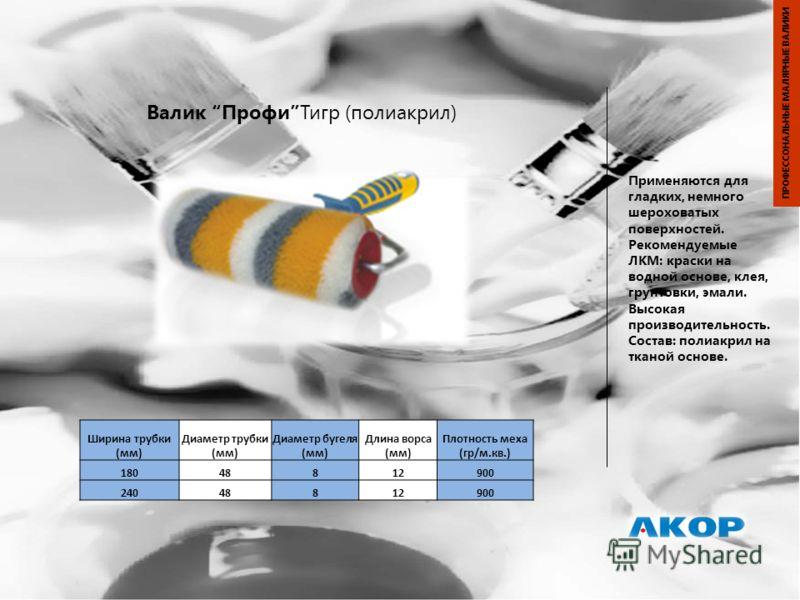 Валик ПрофиТигр (полиакрил) Применяются для гладких, немного шероховатых поверхностей. Рекомендуемые ЛКМ: краски на водной основе, клея, грунтовки, эмали. Высокая производительность. Состав: полиакрил на тканой основе. ПРОФЕССОНАЛЬНЫЕ МАЛЯРНЫЕ ВАЛИКИ