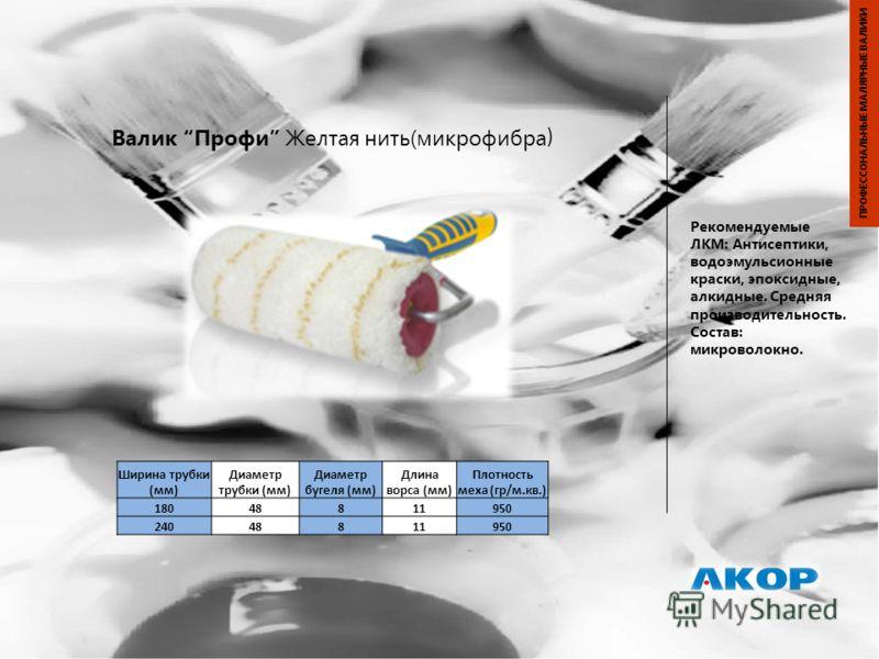 Валик Профи Желтая нить(микрофибра ) Рекомендуемые ЛКМ: Антисептики, водоэмульсионные краски, эпоксидные, алкидные. Средняя производительность. Состав: микроволокно. ПРОФЕССОНАЛЬНЫЕ МАЛЯРНЫЕ ВАЛИКИ Ширина трубки (мм) Диаметр трубки (мм) Диаметр бугел
