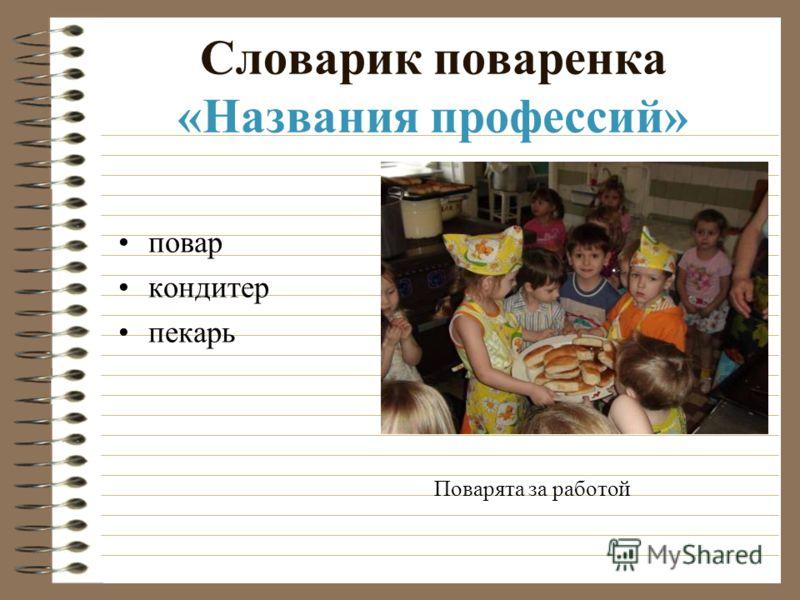 Словарик поваренка «Названия профессий» повар кондитер пекарь Поварята за работой