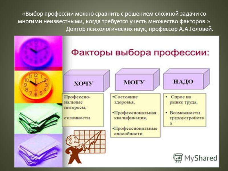 «Выбор профессии можно сравнить с решением сложной задачи со многими неизвестными, когда требуется учесть множество факторов.» Доктор психологических наук, профессор А.А.Головей.