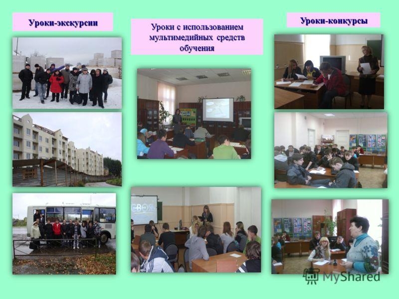 Уроки-экскурсии Уроки с использованием мультимедийных средств обучения Уроки-конкурсы