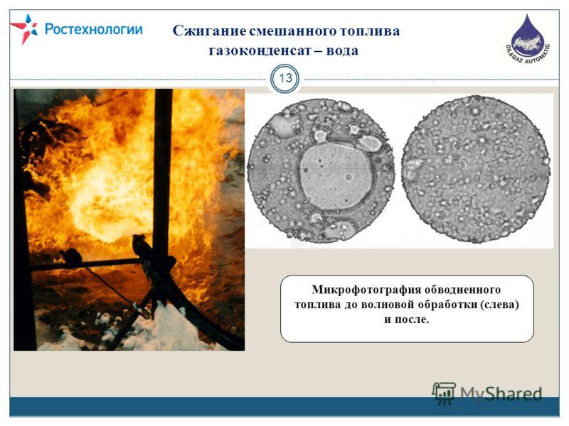 Сжигание смешанного топлива газоконденсат – вода 13. Микрофотография обводненного топлива до волновой обработки (слева) и после.