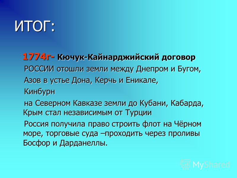 ИТОГ: 1774г- Кючук-Кайнарджийский договор 1774г- Кючук-Кайнарджийский договор РОССИИ отошли земли между Днепром и Бугом, РОССИИ отошли земли между Днепром и Бугом, Азов в устье Дона, Керчь и Еникале, Азов в устье Дона, Керчь и Еникале, Кинбурн Кинбур