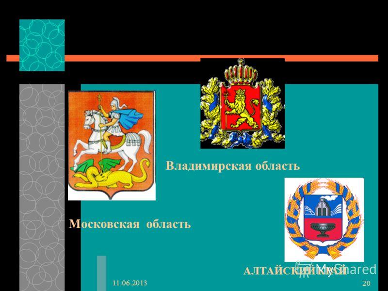 11.06.2013 20 АЛТАЙСКИЙ КРАЙ Владимирская область Московская область