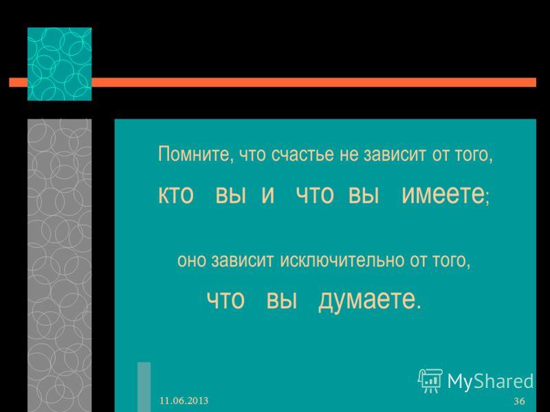 11.06.2013 36 Помните, что счастье не зависит от того, кто вы и что вы имеете ; оно зависит исключительно от того, что вы думаете.