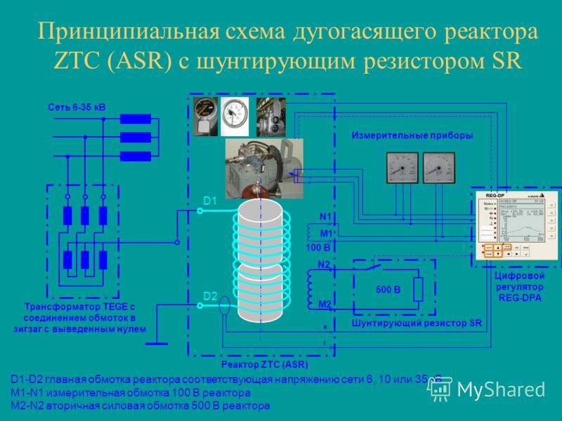 Принципиальная схема дугогасящего реактора ZTC (ASR) с шунтирующим резистором SR D1 D2 N2 M2 M1 N1 k l Измерительные приборы Сеть 6-35 кВ Трансформатор TEGE с соединением обмоток в зигзаг с выведенным нулем Шунтирующий резистор SR Реактор ZTC (ASR) 1