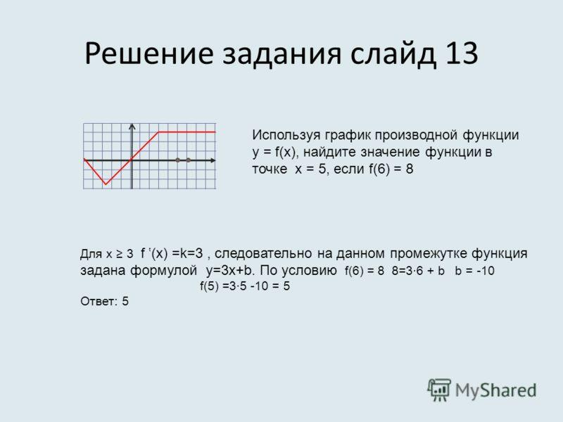 Решение задания слайд 13 Используя график производной функции у = f(x), найдите значение функции в точке х = 5, если f(6) = 8 Для х 3 f (x) =k=3, следовательно на данном промежутке функция задана формулой у=3х+b. По условию f(6) = 8 8=3·6 + b b = -10