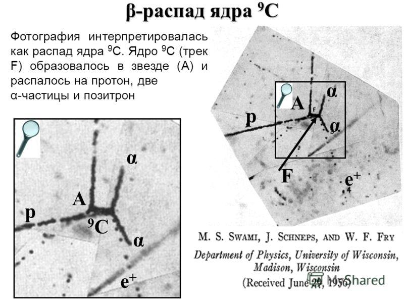 β-распад ядра 9 C e+e+ α α p F A p A 9C9C α α e+e+ Фотография интерпретировалась как распад ядра 9 C. Ядро 9 C (трек F) образовалось в звезде (A) и распалось на протон, две α-частицы и позитрон