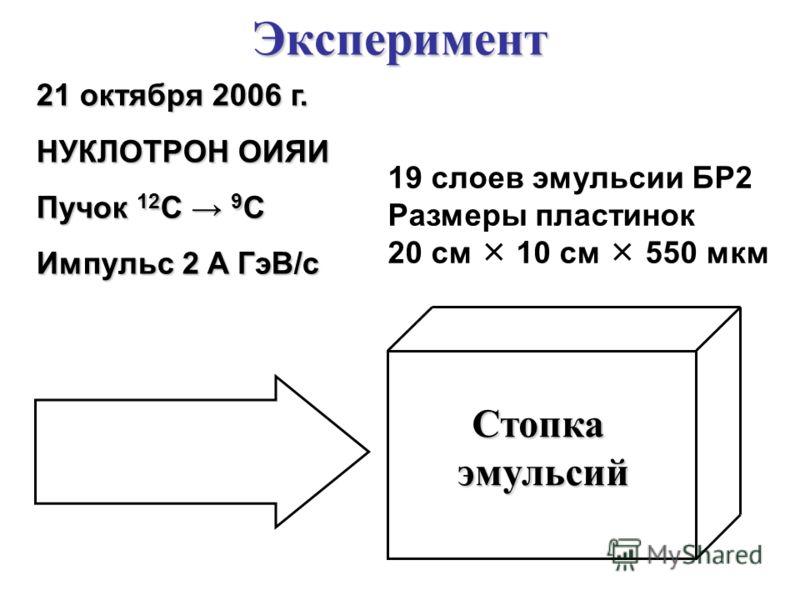 Эксперимент 21 октября 2006 г. НУКЛОТРОН ОИЯИ Пучок 12 C 9 C Импульс 2 A ГэВ/c Стопкаэмульсий 19 слоев эмульсии БР2 Размеры пластинок 20 см 10 см 550 мкм