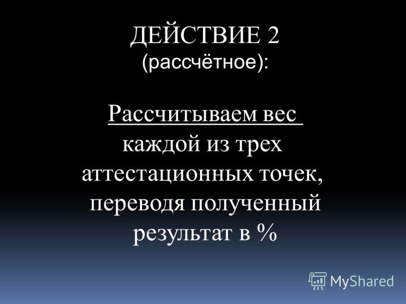 ДЕЙСТВИЕ 2 (рассчётное): Рассчитываем вес каждой из трех аттестационных точек, переводя полученный результат в %