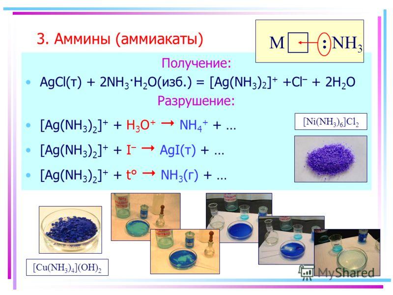 3. Аммины (аммиакаты) Получение: AgCl(т) + 2NH 3 ·H 2 O(изб.) = [Ag(NH 3 ) 2 ] + +Cl – + 2H 2 O Разрушение: [Ag(NH 3 ) 2 ] + + H 3 O + NH 4 + + … [Ag(NH 3 ) 2 ] + + I – AgI(т) + … [Ag(NH 3 ) 2 ] + + t° NH 3 (г) + … : NH 3 M [Cu(NH 3 ) 4 ](OH) 2 [Ni(N