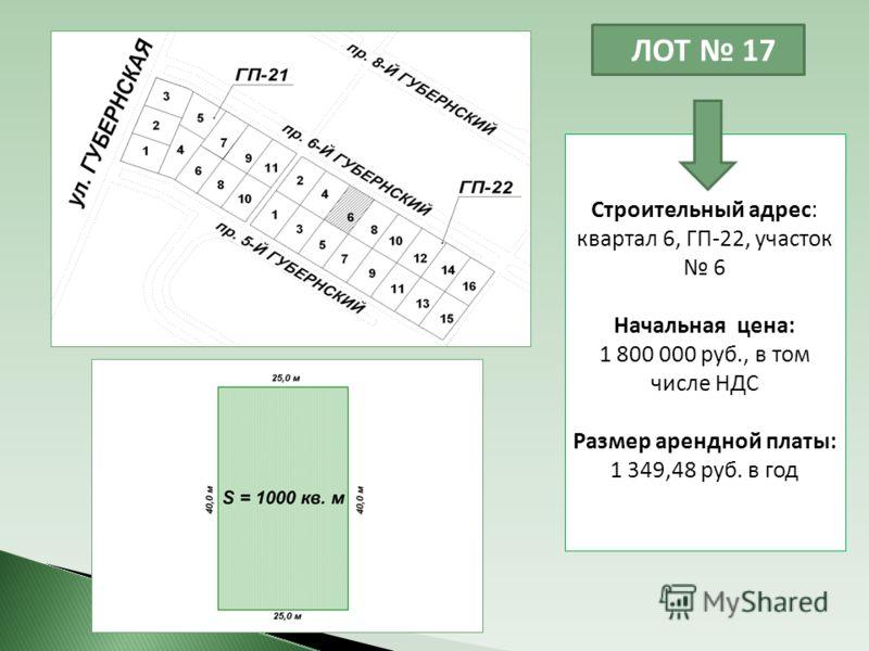 ЛОТ 17 Строительный адрес: квартал 6, ГП-22, участок 6 Начальная цена: 1 800 000 руб., в том числе НДС Размер арендной платы: 1 349,48 руб. в год