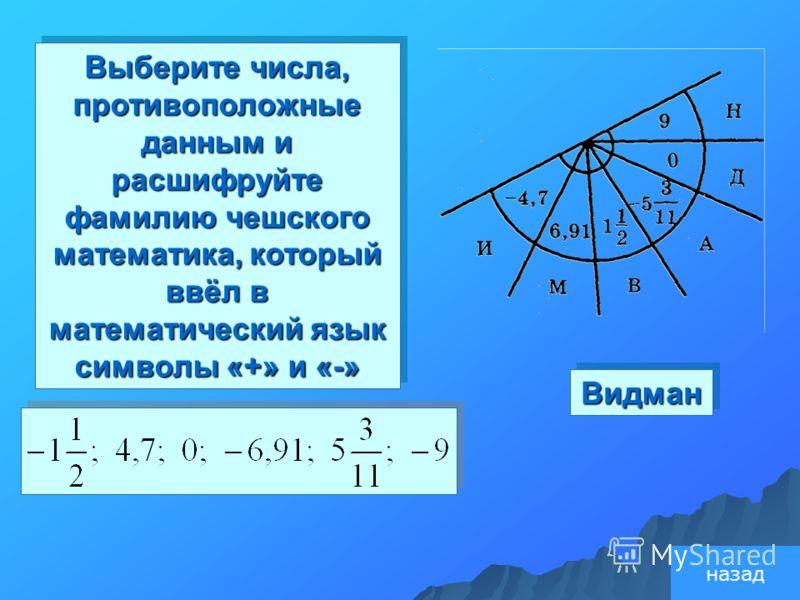 Видман Видман Выберите числа, противоположные данным и расшифруйте фамилию чешского математика, который ввёл в математический язык символы «+» и «-» назад