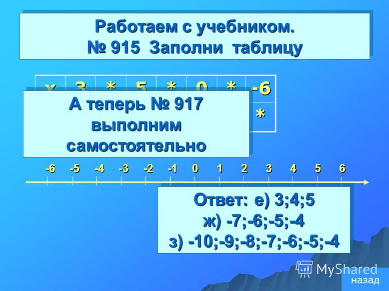 Работаем с учебником. 915 Заполни таблицу x3*5*0*-6-x*4*-2** 3560124-2-3-4-5-6 А теперь 917 выполним самостоятельно Ответ: е) 3;4;5 ж) -7;-6;-5;-4 з) -10;-9;-8;-7;-6;-5;-4 Ответ: е) 3;4;5 ж) -7;-6;-5;-4 з) -10;-9;-8;-7;-6;-5;-4 назад
