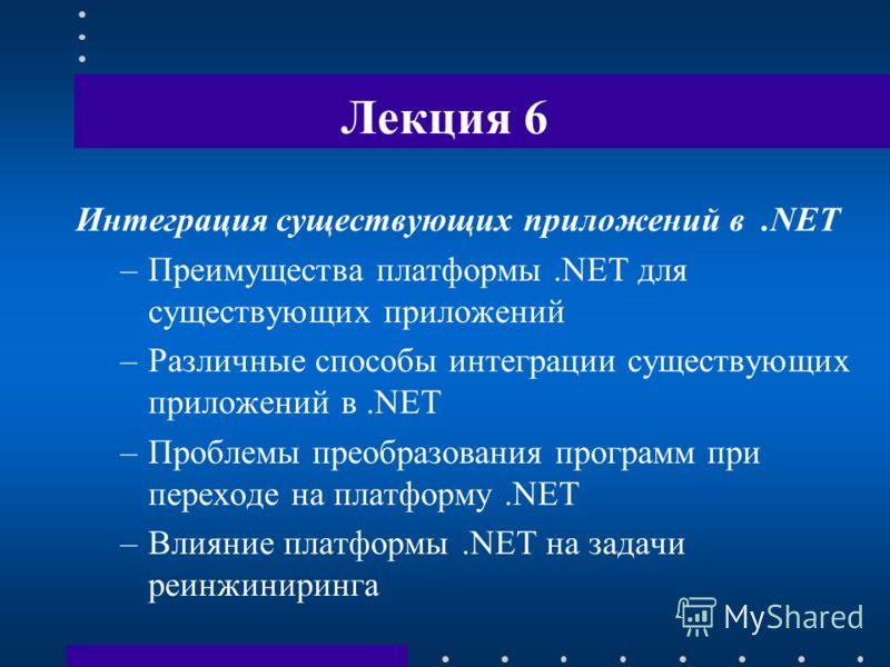 Лекция 6 Интеграция существующих приложений в.NET –Преимущества платформы.NET для существующих приложений –Различные способы интеграции существующих приложений в.NET –Проблемы преобразования программ при переходе на платформу.NET –Влияние платформы.N