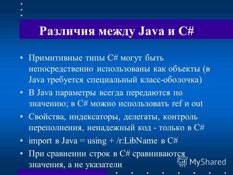 Различия между Java и C# Примитивные типы C# могут быть непосредственно использованы как объекты (в Java требуется специальный класс-оболочка) В Java параметры всегда передаются по значению; в C# можно использовать ref и out Свойства, индексаторы, де