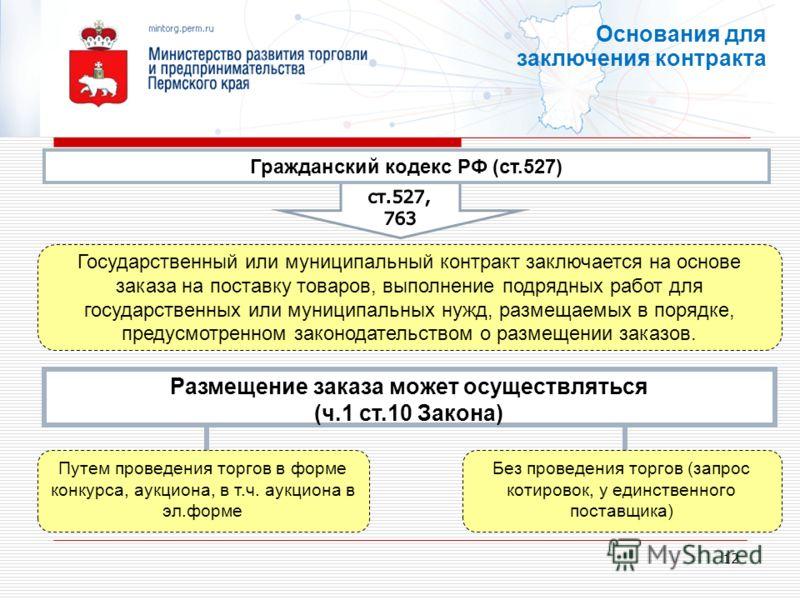 12 Размещение заказа может осуществляться (ч.1 ст.10 Закона) Путем проведения торгов в форме конкурса, аукциона, в т.ч. аукциона в эл.форме Комиссии по размещению заказов часть 2 статьи 7 Основания для заключения контракта Гражданский кодекс РФ (ст.5