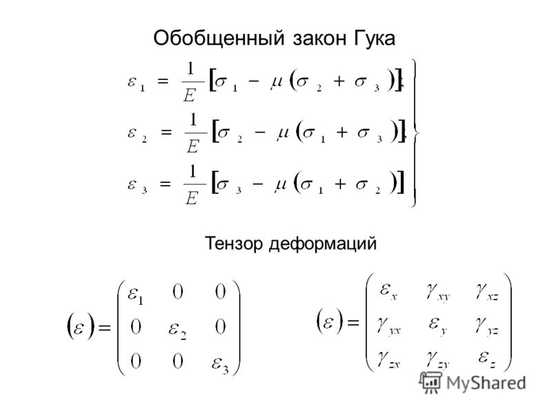 Обобщенный закон Гука Тензор деформаций
