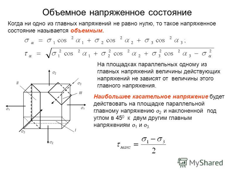 Объемное напряженное состояние III II I 3 3 2 2 1 1 Когда ни одно из главных напряжений не равно нулю, то такое напряженное состояние называется объемным. Наибольшее касательное напряжение будет действовать на площадке параллельной главному напряжени
