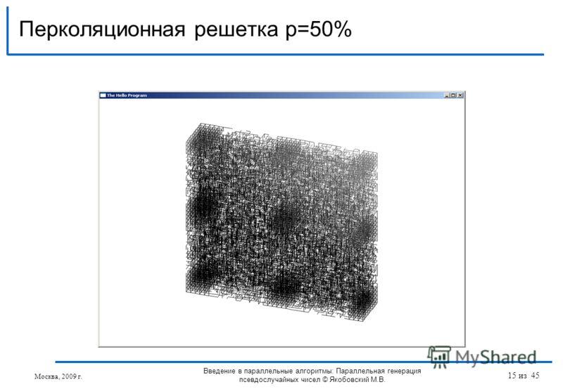 Перколяционная решетка p=50% Москва, 2009 г. Введение в параллельные алгоритмы: Параллельная генерация псевдослучайных чисел © Якобовский М.В. 15 из 45