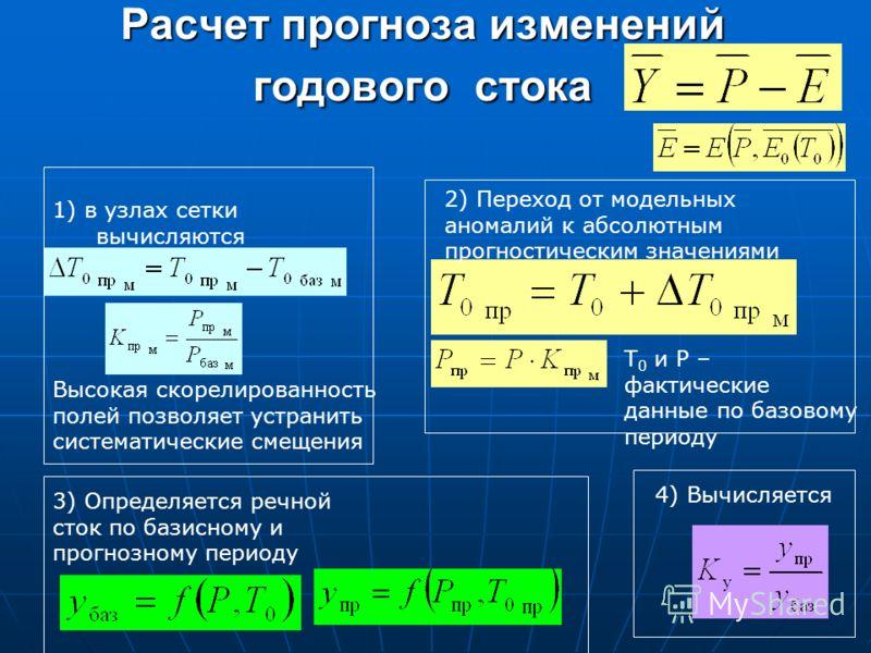1) в узлах сетки вычисляются 2) Переход от модельных аномалий к абсолютным прогностическим значениями Т 0 и Р – фактические данные по базовому периоду 3) Определяется речной сток по базисному и прогнозному периоду 4) Вычисляется Высокая скорелированн