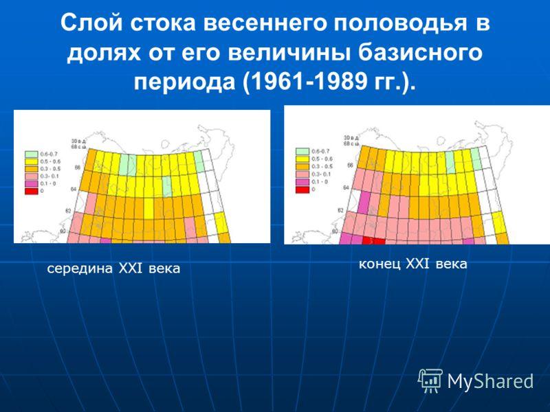 Слой стока весеннего половодья в долях от его величины базисного периода (1961-1989 гг.). середина XXI века конец XXI века