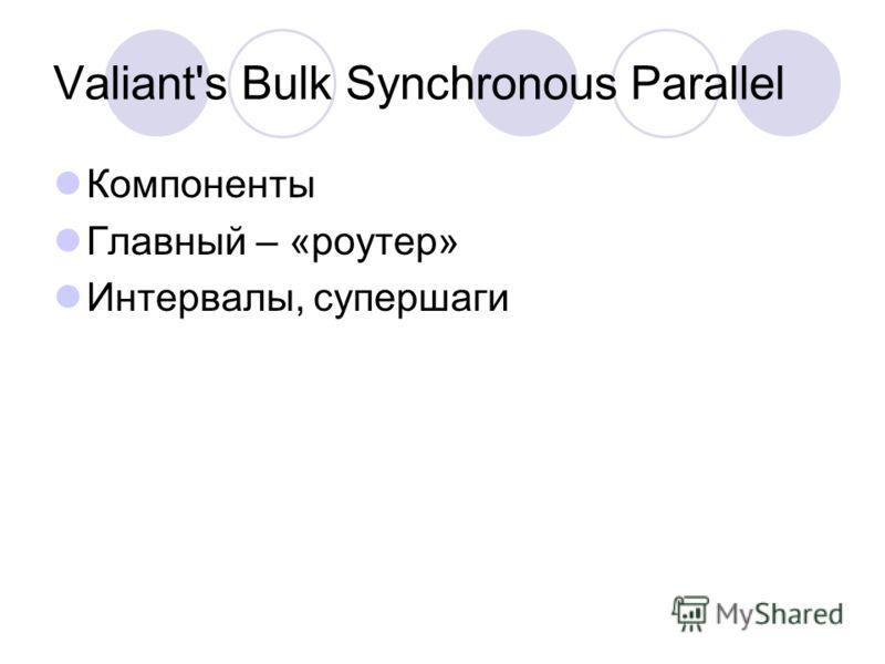 Valiant's Bulk Synchronous Parallel Компоненты Главный – «роутер» Интервалы, супершаги