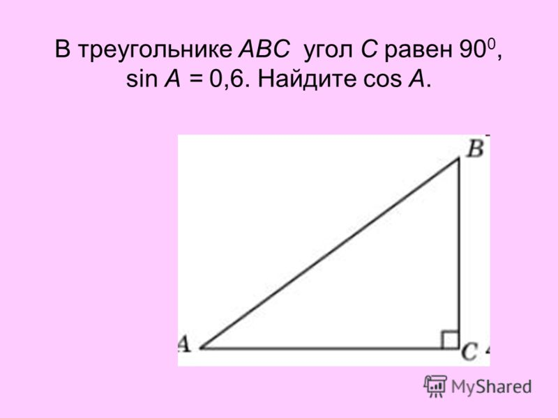 В треугольнике ABC угол C равен 90 0, sin A = 0,6. Найдите cos A.