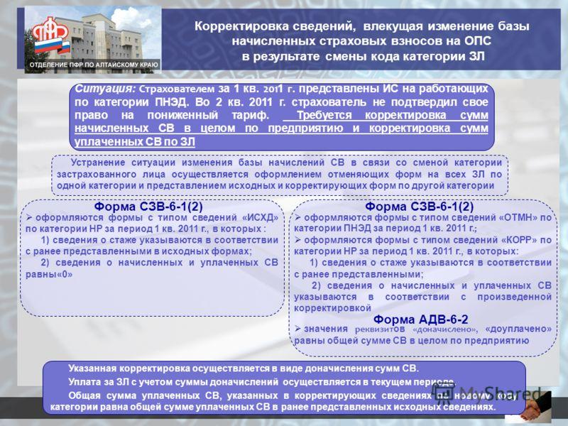 Форма СЗВ-6-1(2) Ситуация: Страхователем за 1 кв. 201 1 г. представлены ИС на работающих по категории ПНЭД. Во 2 кв. 2011 г. страхователь не подтвердил свое право на пониженный тариф. Требуется корректировка сумм начисленных СВ в целом по предприятию