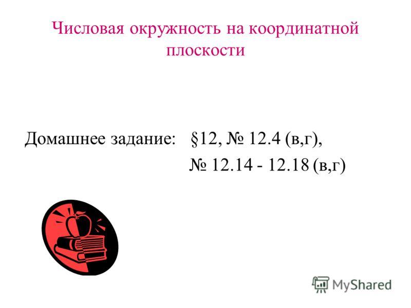 Числовая окружность на координатной плоскости Домашнее задание: §12, 12.4 (в,г), 12.14 - 12.18 (в,г)