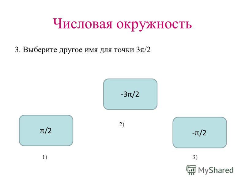 Числовая окружность 3. Выберите другое имя для точки 3π/2 -π/2 π/2 -3π/2 1) 2) 3)