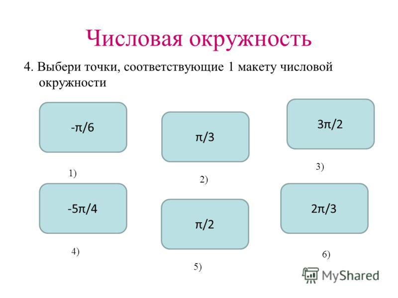 Числовая окружность 4. Выбери точки, соответствующие 1 макету числовой окружности 3π/2 -5π/4 π/2 π/3 -π/6 2π/3 1) 2) 3) 4) 5) 6)
