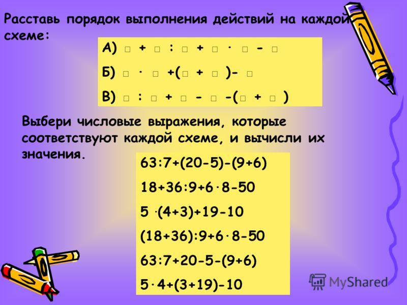 Выбери числовые выражения, которые соответствуют каждой схеме, и вычисли их значения. 63:7+(20-5)-(9+6) 18+36:9+6·8-50 5 ·(4+3)+19-10 (18+36):9+6·8-50 63:7+20-5-(9+6) 5·4+(3+19)-10 Расставь порядок выполнения действий на каждой схеме: А) + : + · - Б)