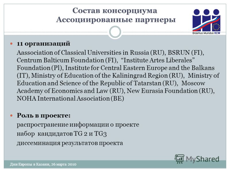 Состав консорциума Ассоциированные партнеры 11 организаций Аassociation of Classical Universities in Russia (RU), BSRUN (FI), Centrum Balticum Foundation (FI), Institute Artes Liberales Foundation (Pl), Institute for Central Eastern Europe and the Ba