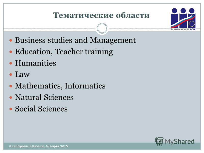 Тематические области Дни Европы в Казани, 26 марта 2010 Business studies and Management Education, Teacher training Humanities Law Mathematics, Informatics Natural Sciences Social Sciences
