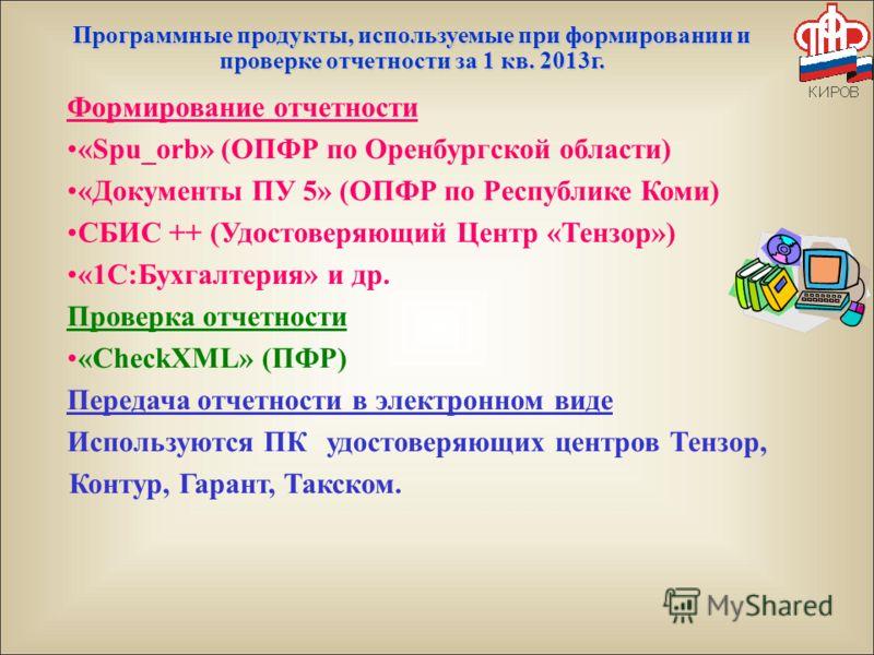 Программные продукты, используемые при формировании и проверке отчетности за 1 кв. 2013г. Формирование отчетности «Spu_orb» (ОПФР по Оренбургской области) «Документы ПУ 5» (ОПФР по Республике Коми) СБИС ++ (Удостоверяющий Центр «Тензор») «1С:Бухгалте