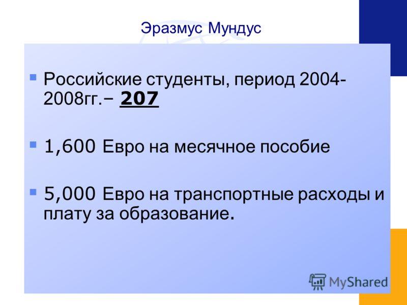 Эразмус Мундус Российские студенты, период 2004- 2008гг. – 207 1,600 Евро на месячное пособие 5,000 Евро на транспортные расходы и плату за образование.