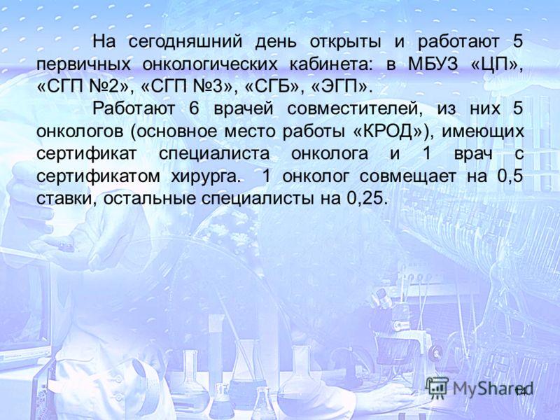 14 На сегодняшний день открыты и работают 5 первичных онкологических кабинета: в МБУЗ «ЦП», «СГП 2», «СГП 3», «СГБ», «ЭГП». Работают 6 врачей совместителей, из них 5 онкологов (основное место работы «КРОД»), имеющих сертификат специалиста онколога и