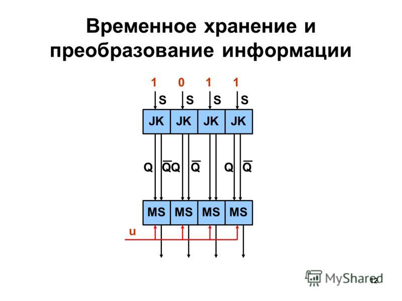 12 S Временное хранение и преобразование информации JK SSS MS QQQQ u QQ 1011