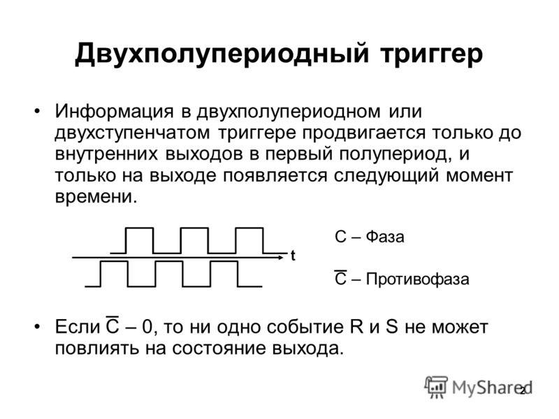2 Информация в двухполупериодном или двухступенчатом триггере продвигается только до внутренних выходов в первый полупериод, и только на выходе появляется следующий момент времени. Если C – 0, то ни одно событие R и S не может повлиять на состояние в