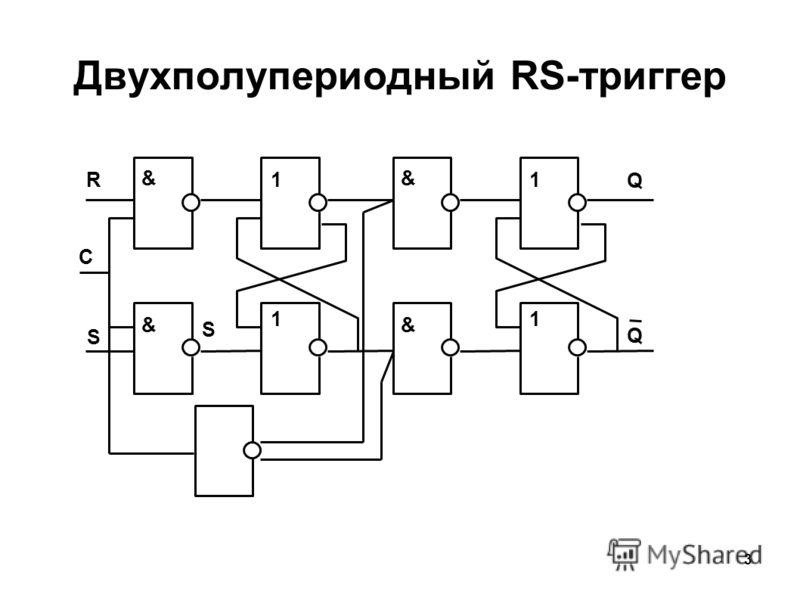 3 Двухполупериодный RS-триггер 1 1 R S & & S C 1 Q 1 Q & &