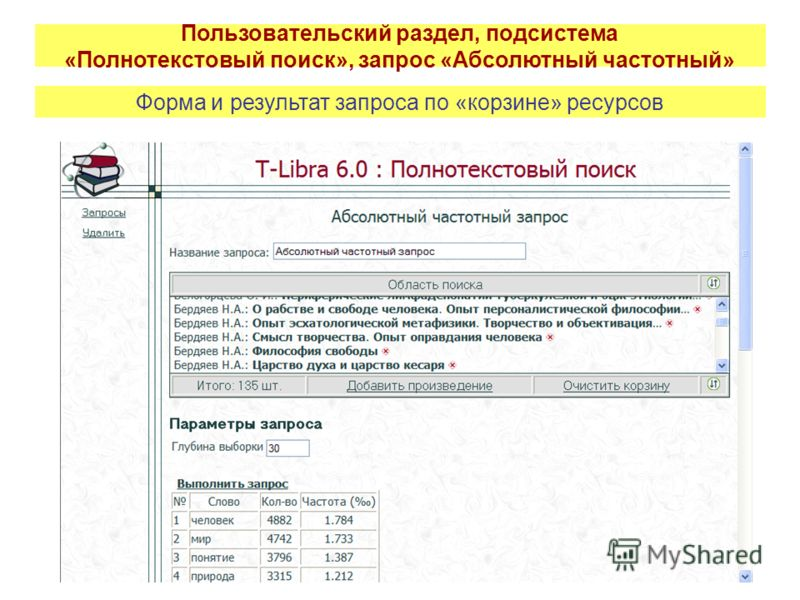 Пользовательский раздел, подсистема «Полнотекстовый поиск», запрос «Абсолютный частотный» Форма и результат запроса по «корзине» ресурсов
