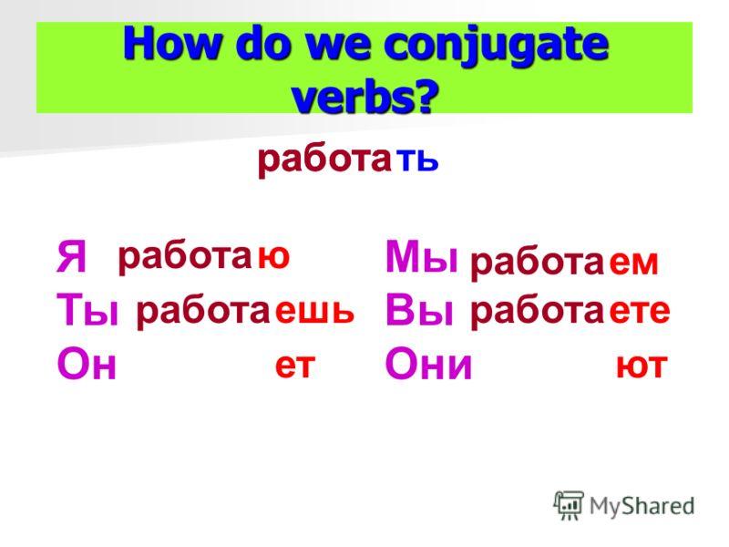 How do we conjugate verbs? тьработа Я Ты Он ю ешьработа ет Мы Вы Они работа емработа етеработа ют